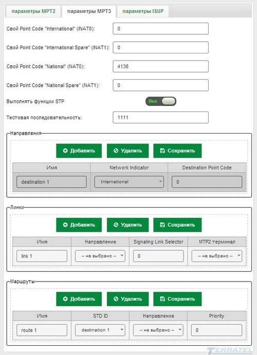Конфигурация и параметры, SIP в SS7 Gateway