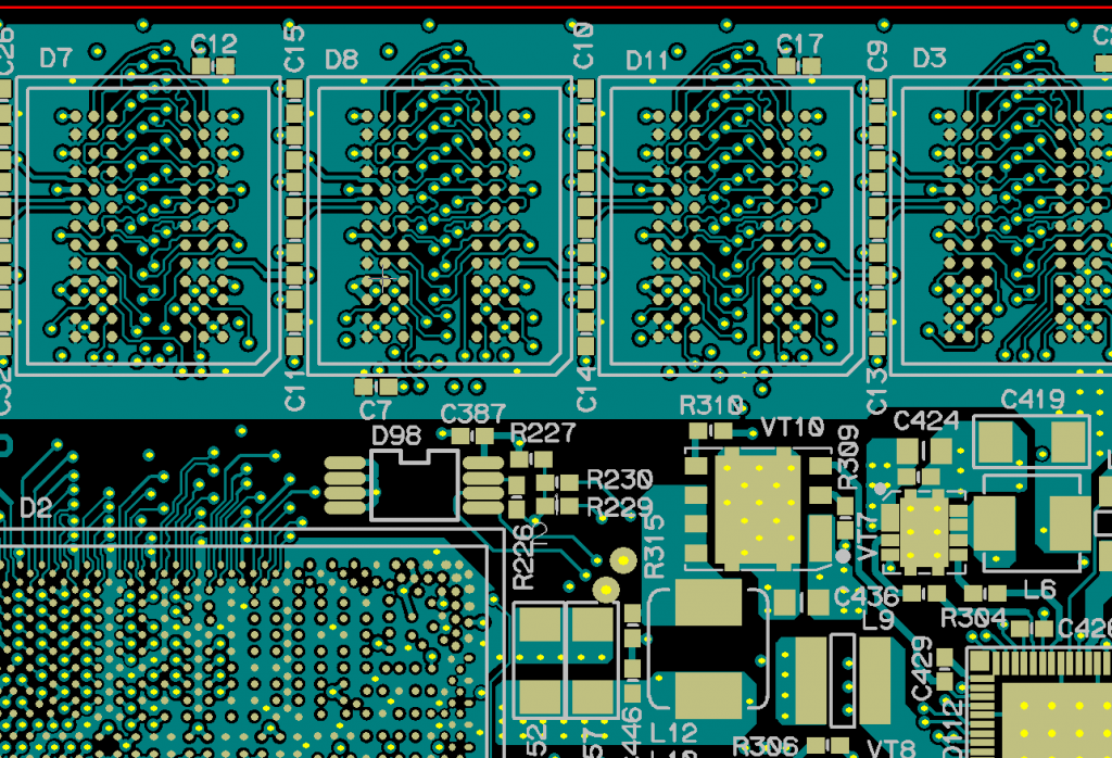 Vias make electrical connections between layers on a PCB