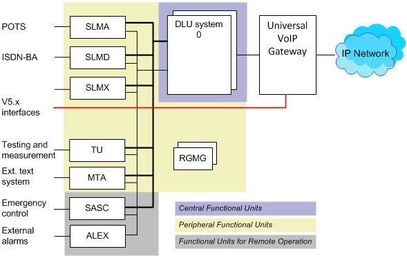 DLU functional units and their integration with VoIP gateway