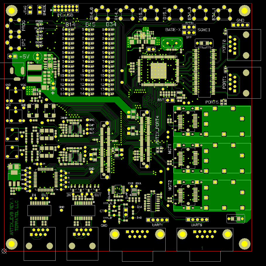 Artix_TDM top layer soldermask and silksceen, HDI PCBs, HDI Any-Layer PCBs