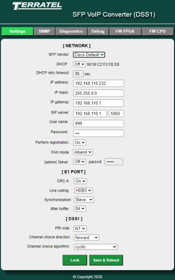 Web interface - Configuring SFP VoIP Converter on the Settings tab