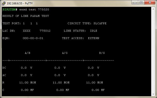 Результат выполнения измерений и тестов абонентской линии АТС DLU EWSD